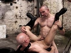 Mike French delivers sex of the harder variety. And Alex Wegert takes it from him hard but with heart. In the old factory hall the two slither and rol daddy gay porn