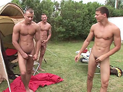 The Visconti triplets while filming a camp scene in here daddy gay porn