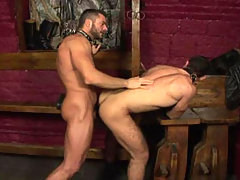 Handsome hairy studs fucking in a dark dungeon in this video daddy gay porn