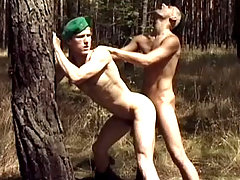 Hot army studs enjoying some intense anal sex outdoors daddy gay porn
