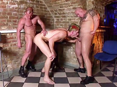 Two skinheads enlarge this punk's asshole with their dicks daddy gay porn