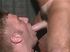 Fellas assbang and jizz in garage daddy gay porn