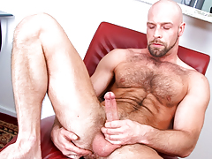 Hairy daddy wanks his cock until he cums all over furry body daddy gay porn