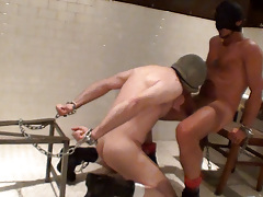 The pee-shy prisoner is shackled down across from his cellmate and utter that they would remain shackled awaiting he summons the courage to piss but when inspiration frustrates to bring the flow he and his companion begin to pass the time. Both hard and daddy gay porn