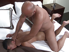 Big dicked Daddy Brian is ecstatic when he spies sexy sub boy Armond Rizzo in the bed. Armond has no trouble in wrapping his lips around Brian's fat cock and then happily stretches his cheeks so that Brian can pound his tough cock deep inside his ass. B daddy gay porn