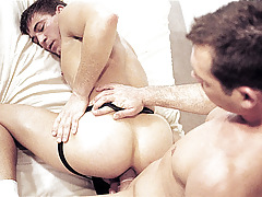 Propelling a fake penis can't live without ass; then a second dildo, then a hand ! daddy gay porn